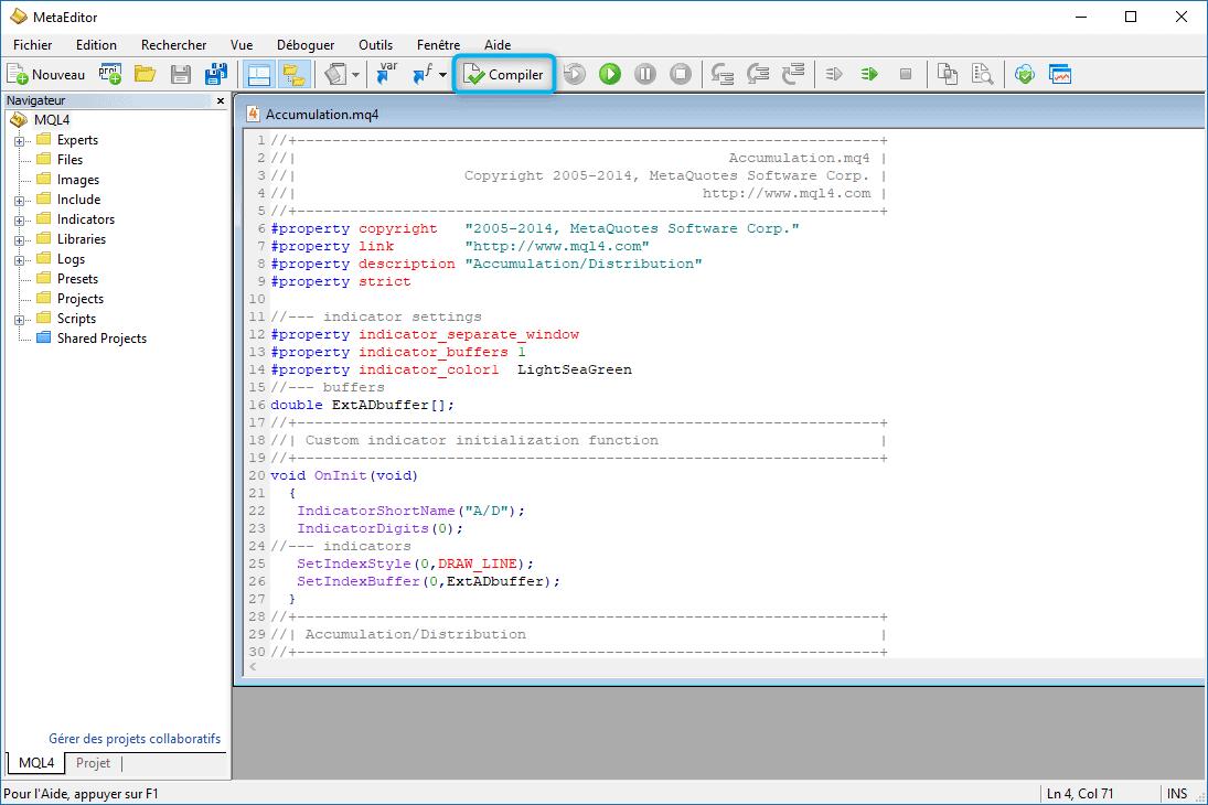 Compiler un indicateur ou un EA 3