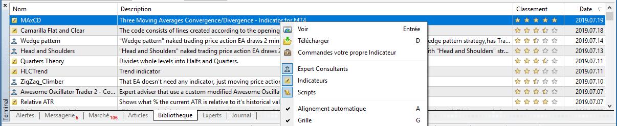 Obtenir un indicateur ou un EA depuis le logiciel 2