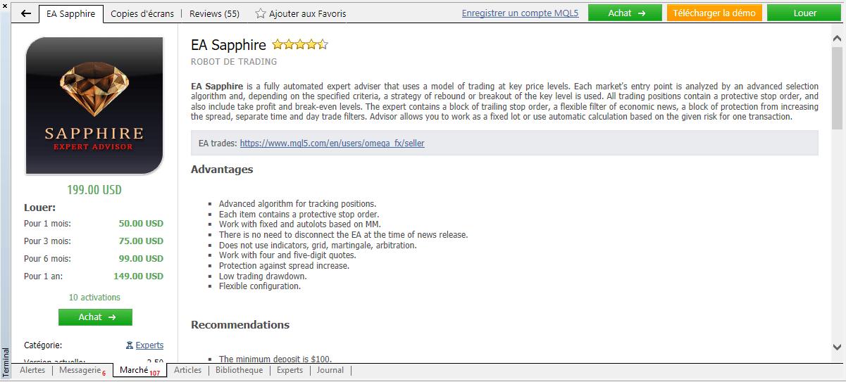 Obtenir un indicateur ou un EA depuis le logiciel 5