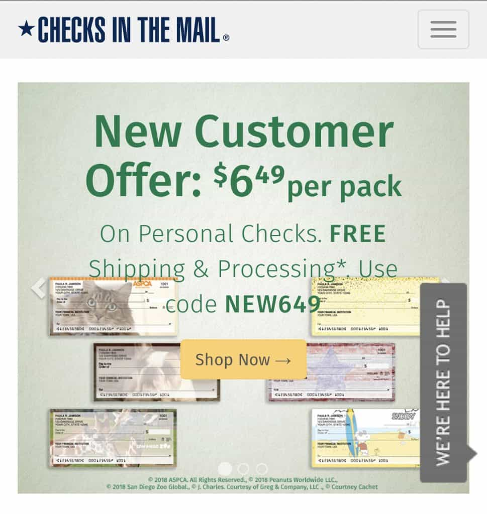 checks in the mail products