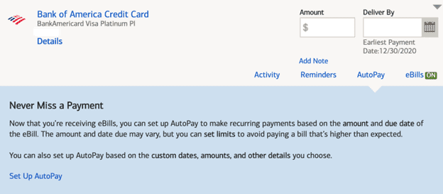 Bank of America Credit Card AutoPay