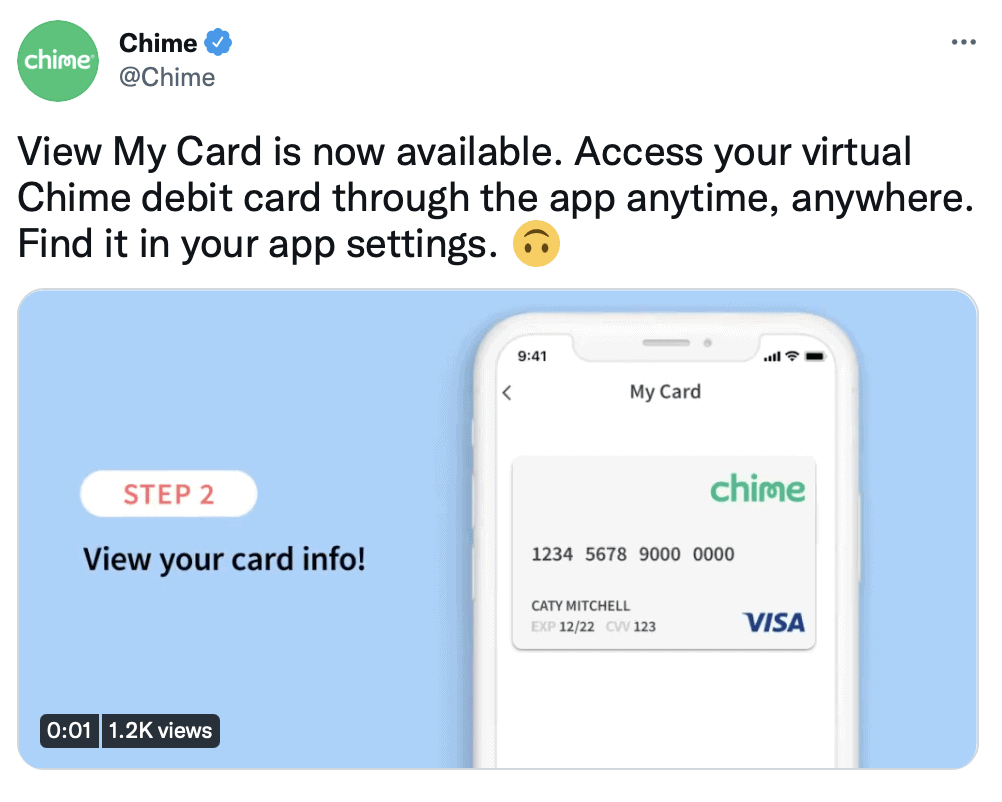 Chime Temporary Card
